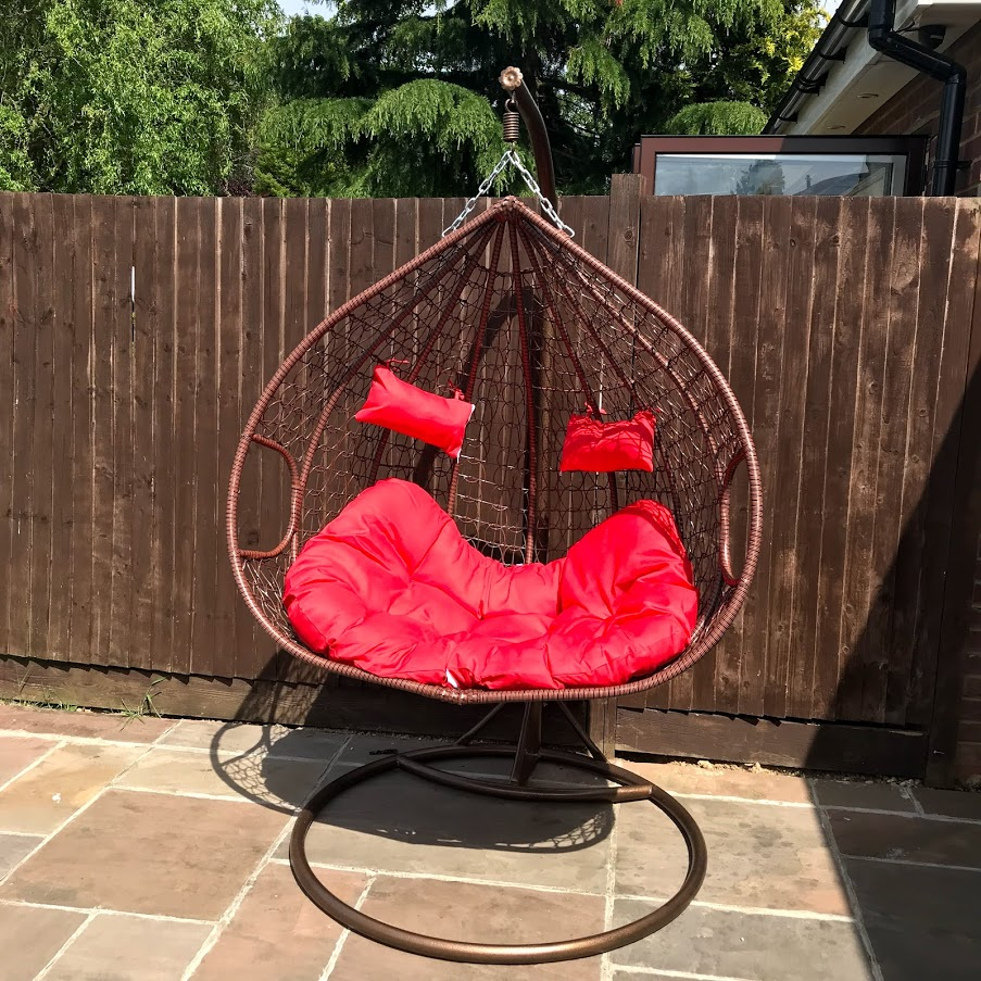 Double Outdoor Rattan Hanging Egg Chair Red Cushions Nitaar